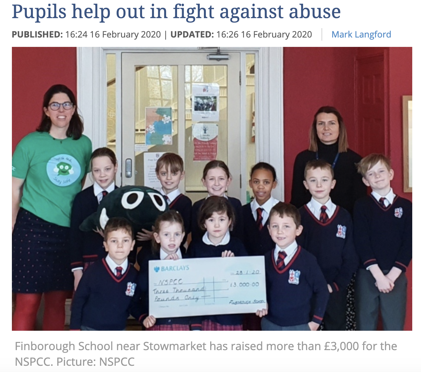 Charity success recognised by the Newspaper